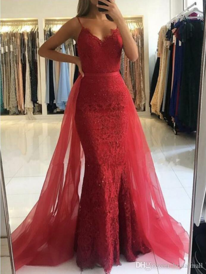 2019 Spaghetti Straps Wine Red Lace Prom Dresses With Detachable Train Beaded Appliques Formal Party Gowns Pageant Overskirts Evening Dress Shop Prom