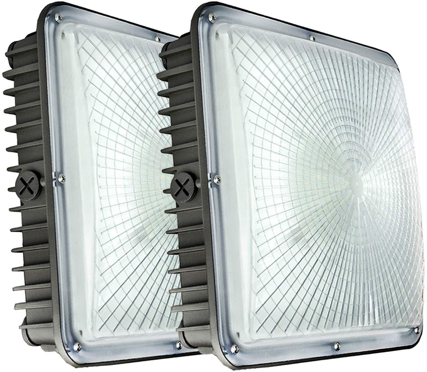 "70W светодиодные Canopy Lights, 8400 люмен 5500K белый, 9,5"" х 9,5"" , 120В 277V для АЗС, тренажерный зал, склад, гараж, двор (2-Pack 70W)"