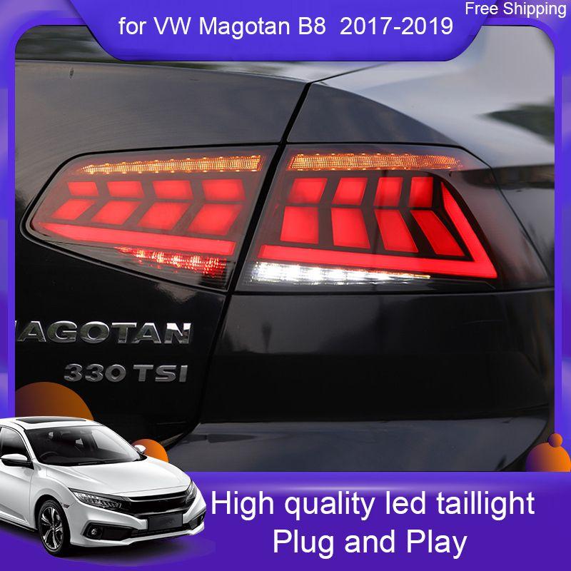 VW PASSAT Magotan B8 arka lambaları için Araç ışıkları 2018 2019 2017 Magotan B8 LED Arka Lamba + Dönüş Sinyal + Fren + Ters LED ışığı otomatik ışık için