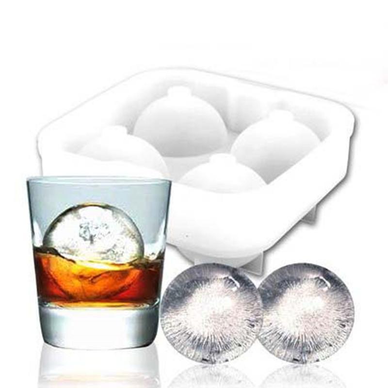Yüksek kaliteli Buz Toplar Makinası Kaplar alet Kalıp 4 Hücre Viski Kokteyl Premium Yuvarlak Küreler Bar Mutfak Parti Araçları Tepsi Küp
