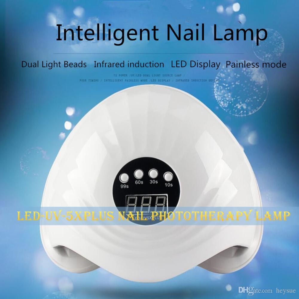 72W GÜNEŞ 5X Artı UV LED Lamba Çift Işık Kaynağı Tırnak Kurutucu Kızılötesi Algılama LCD Ekran Akıllı Zamanlayıcı Ağrısız Modu Hızlı Kür İçin Tüm Jelleri