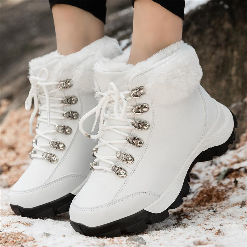 WOMENS WINTER ANKLE BOOTS LADIES FLAT FUR LINED  WARM SHOES SNOW BOOTIES SIZE