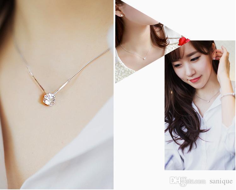 S925 فضة مجوهرات واحدة الماس الزركون كريستال قلادة الترقوة قلادة الأزياء بسيطة