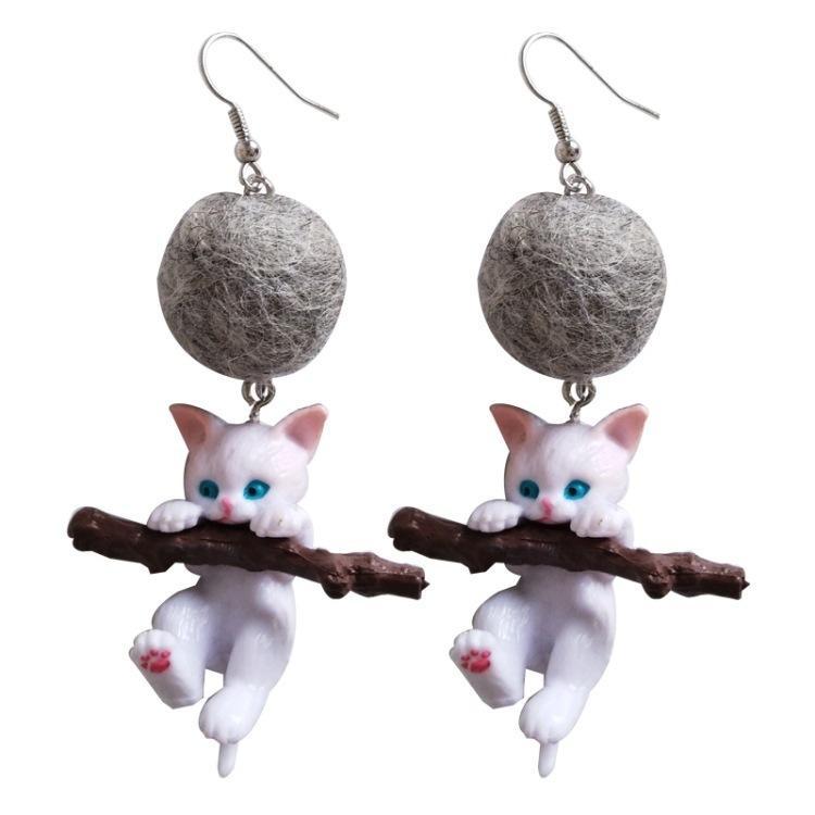 2019 Resina divertido Branch linda del gatito del gato joyería pendientes de gota de la manera del animal de la historieta para muchachas de las mujeres de moda del regalo de los accesorios