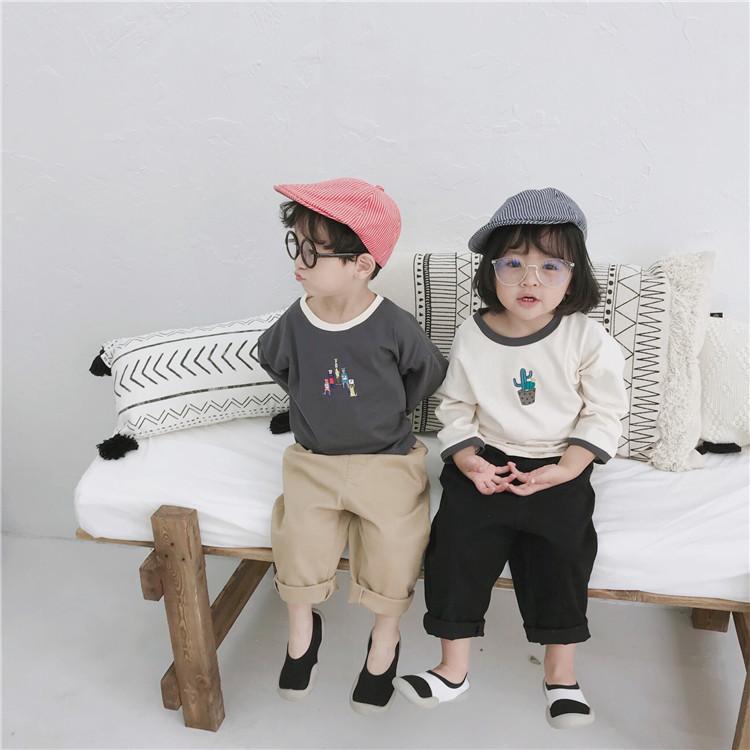 Корейский стиль осень дети мультфильм печатных с длинным рукавом футболки Детские мальчики и девочки мода хлопок тройники 1-6 лет детская одежда T200225