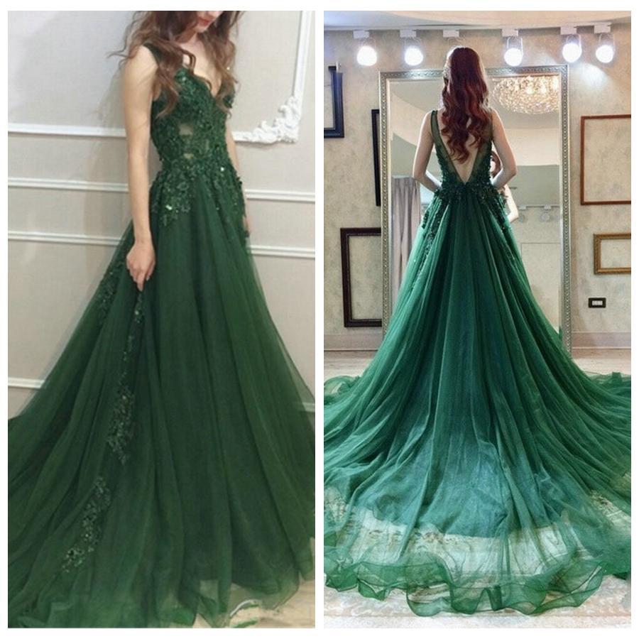Großhandel Herrlicher V Ausschnitt Grün Abendkleid Lang Appliqued Wulstige  Partei Kleid Customized A Linie Abendkleid Robe De Soiree Von Rosybridal,