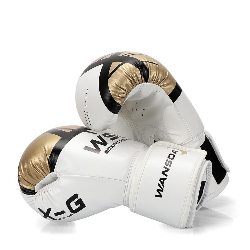 Alta calidad adultos mujeres / hombres guantes de boxeo de cuero Mma Muay Thai Boxe De Luva Mitts Sanda Equipments8 10 12 6 oz Boks