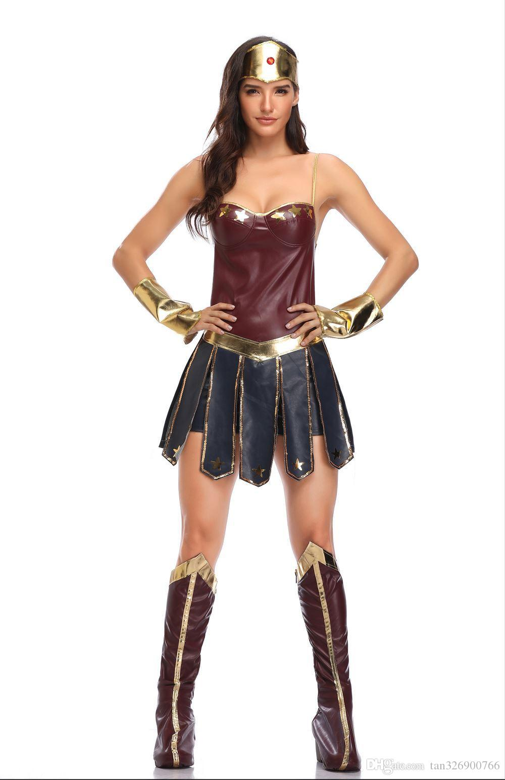 European and American new Halloween costumes Wonder Woman Cosplay Costume Justice League Gladiator uniform free shipping