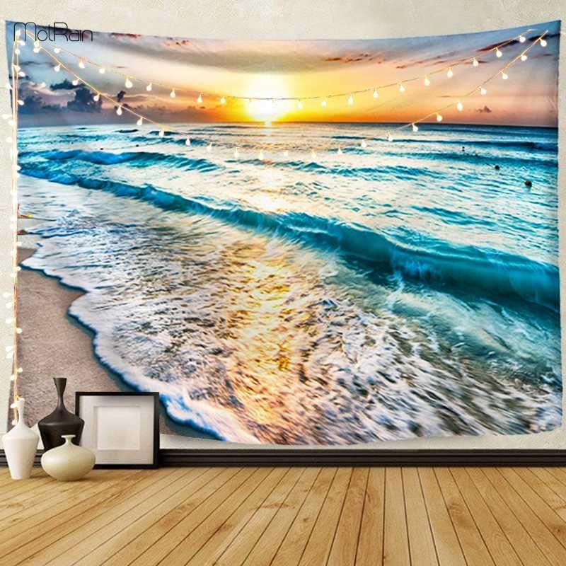 Yatak odası Bezi Halılar Battaniye için Asma Okyanus Deniz Dalga Duvar Goblen Dekorasyon Plaj Manzara Manzara Goblen Duvar