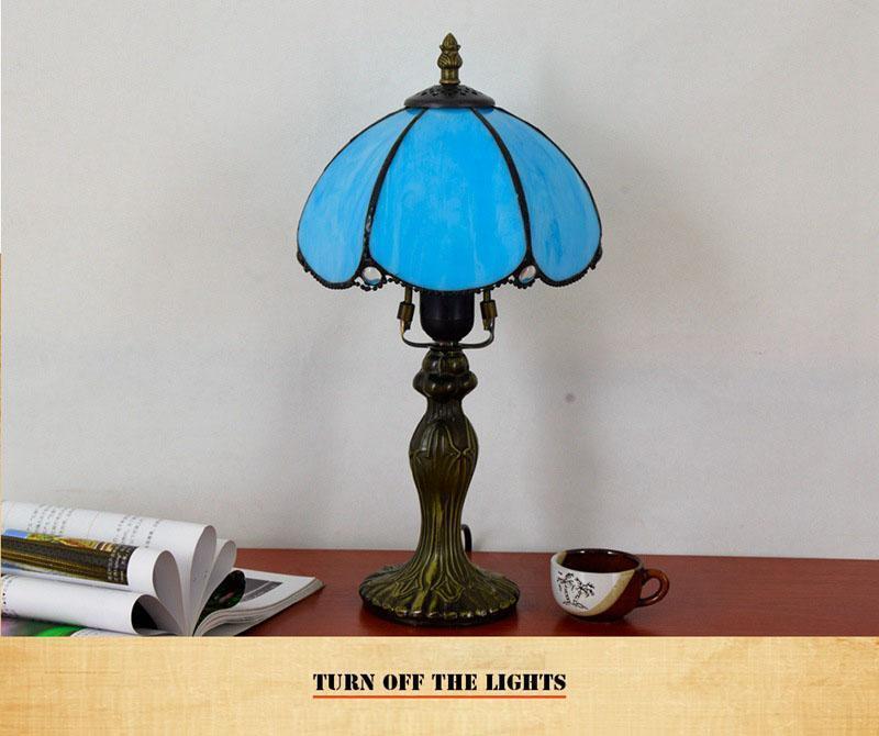 stile europeo semplice mediterranea camera da letto comodino blu soggiorno sala da pranzo piccola lampada da tavolo da 8 pollici lampada bar retrò
