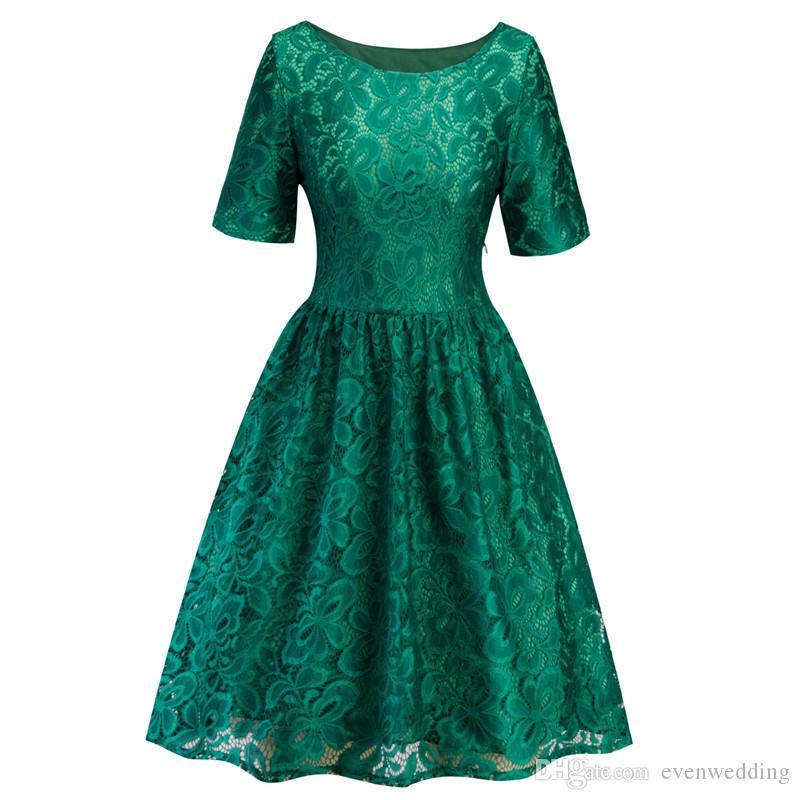 Lace Короткие коктейльные платья с короткими рукавами 2020 Scoop шеи женщин платье партии фиолетовый красный королевский синий темно-синий