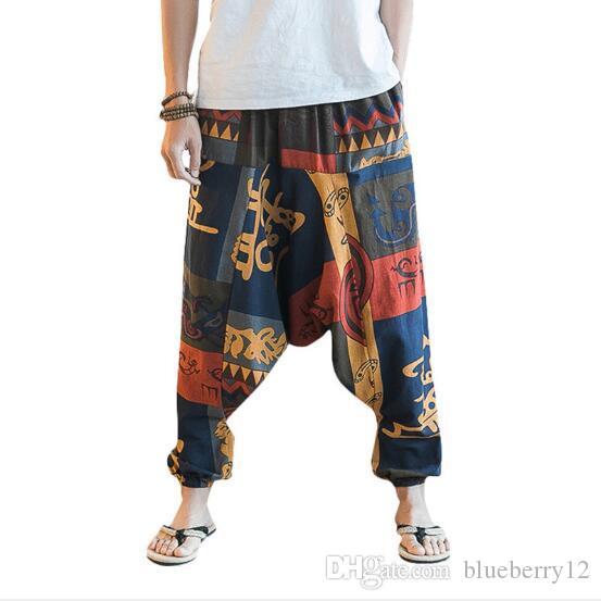New Hip Hop Baggy Algodão Linho Harem Pants Homens Mulheres Plus Size perna larga Calças New Boho Calça Casual Cruz-calças