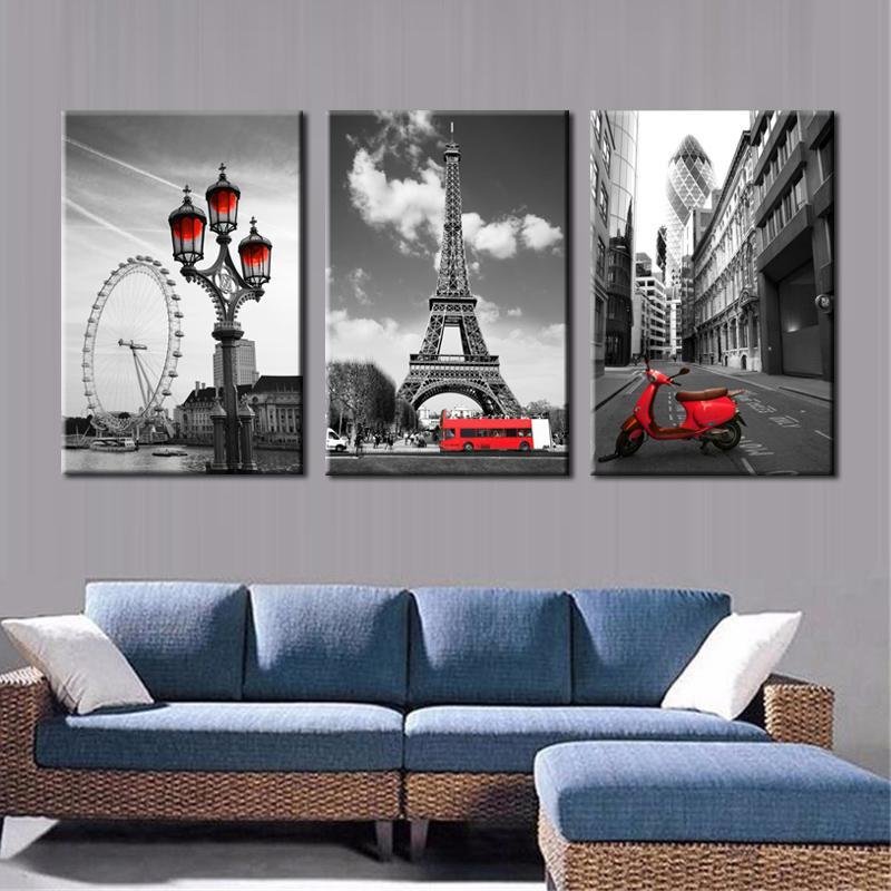 거실 홈 인테리어 선물 파리 포스터 벽 그림에서 에펠 탑의 풍경을 회화 현대 도시 풍경 캔버스
