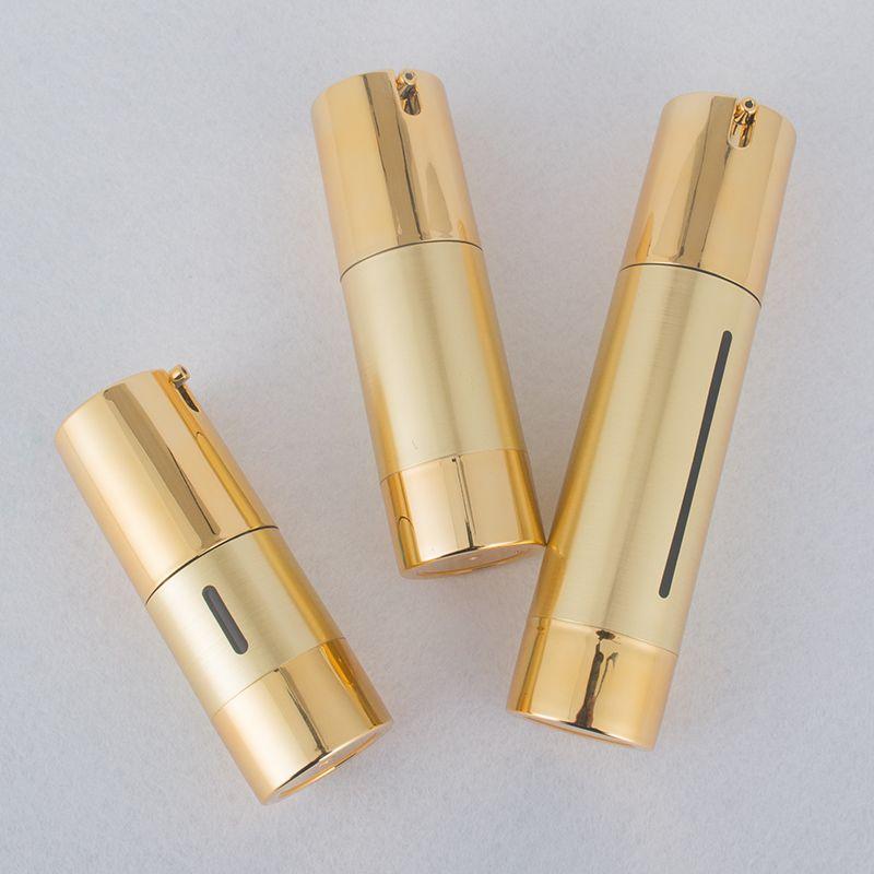 15 мл / 30 мл / 50 мл 24pcs Gold Вакуумные бутылки насос безвоздушного Luxury Портативный косметический лосьон Лечение путешествия Empty Bottle Контейнер