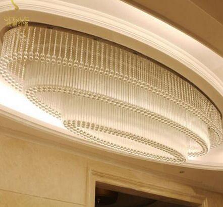 Luz del colgante de la araña grande del cristal LED moderno para la sala de estar de la villa Sala de la sala de techo Luz de óvalo del hotel Lobby de ventas de club personalizado Lámparas de iluminación de luz