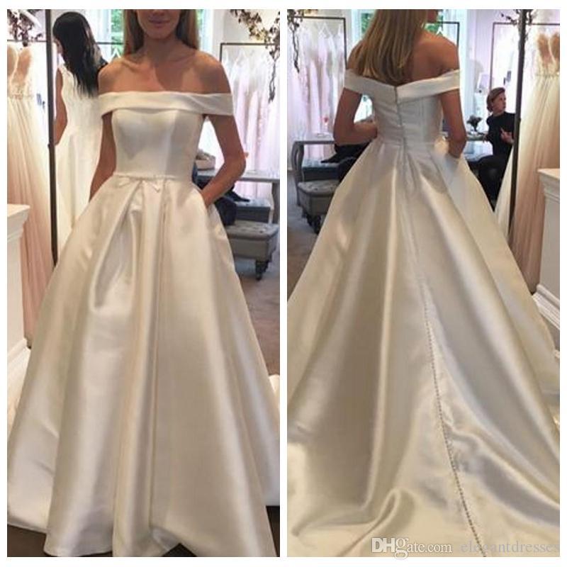 Simple A-Line White Wedding Dresses 2019 Short Sleeves Bridal Gowns Satin Long Garden Vestidods De Mariee Cheap Plus Size
