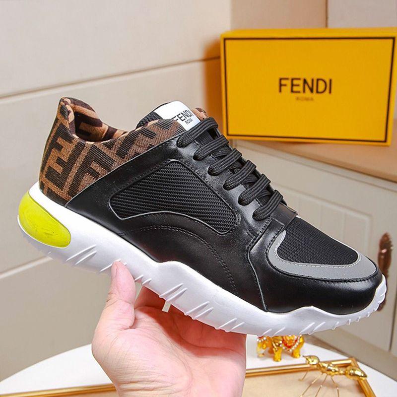 Fendi Günlük Erkek Ayakkabı Moda Zapatos de hombre Kutu Erkekler Ayakkabı Lüks Siyah Tech Kumaş Düşük Tops Sneakers Erkek Ayakkabı Moda Tipi CHAUSSURES ile