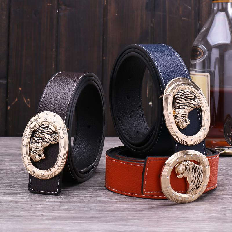 Diamond tiger animal men casual personalized designer leather belt new fashion luxury glittering 3d smooth buckle 125cm