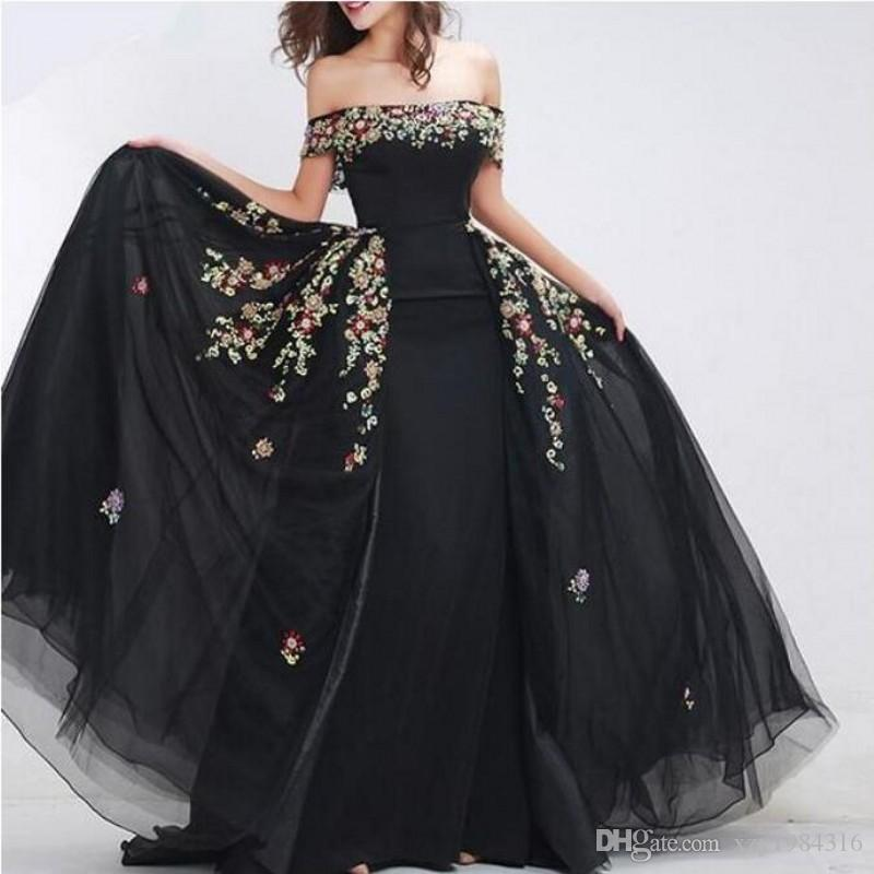 Negro encantadores vestidos de noche fuera del hombro del satén apliques de encaje de las mujeres una línea vestidos de fiesta de tul barrido tren vestidos de baile envío gratis