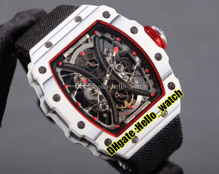 New RM53-01 Pablo Mac Donough Skeleton Dial Miyota Automatic Mens Watch Red Inner TPT White Carbon Fiber Case Black Nylon Sport Gents Waches