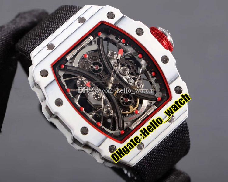 Nueva RM53-01 Pablo Mac Donough Esqueleto Dial Miyota automático del reloj para hombre Rojo Interior TPT blancas en fibra de carbono de casos Negro Nylon deporte señores waches