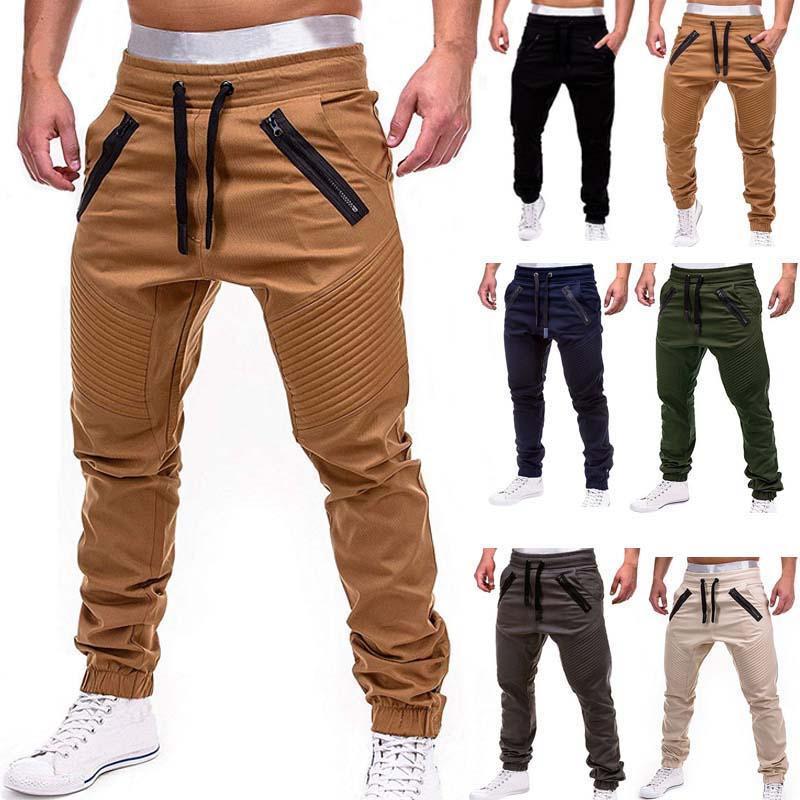 Yeni Casual Katı Pantolon Tam Boy Kargo Pantolon Erkekler İpli Koşucular Sweatpants Artı boyutu 4XL Orta Bel Pantolon Erkekler Streetwear