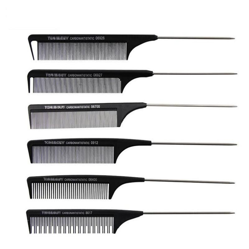1pc Black Hard Carbon Cutting Comb Heat Resistant Salon Hair Trimmer Brushes Metal Pin Tail Antistatic Comb No Baby Care Kids