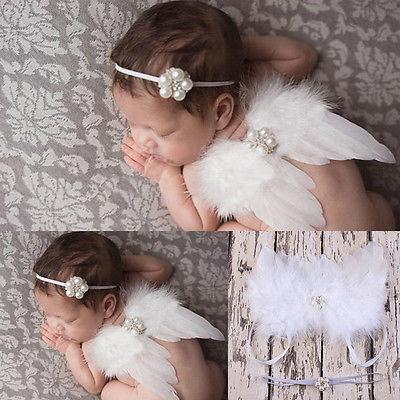 Headband Photo Photography Prop Girls Boys Newborn Baby White Angel Wings
