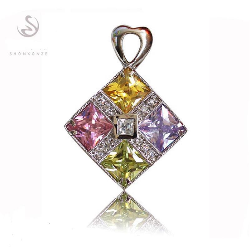 SHUNXUNZE annata sveglia ciondoli gioielli da sposa fascino di Natale per le donne Viola Rosa Peridot champagne zirconi placcati Rhodium R4071