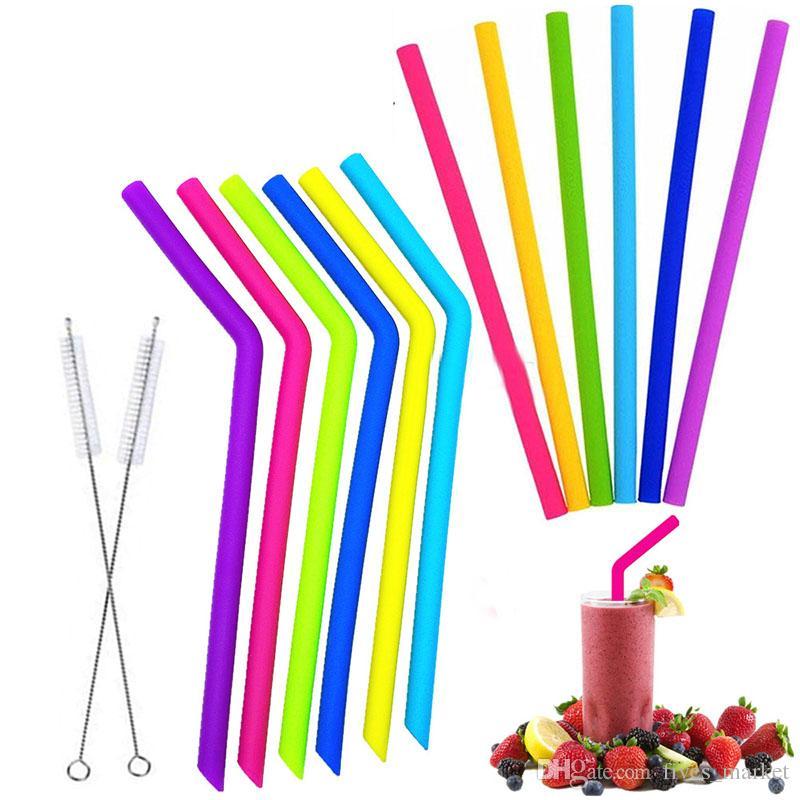 Pajitas de silicona reutilizables Pajas largas y flexibles con cepillos de limpieza para bar Comedor Vasos Vasos Tazas 10 unids / set FHH7-1931
