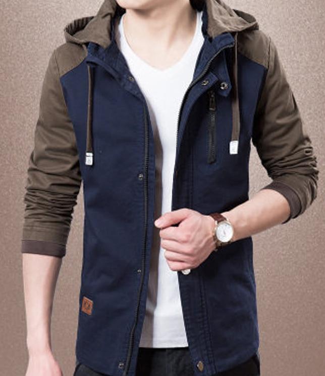 Мужские зимние куртки Повседневный длинным рукавом Тонкий с капюшоном куртки способа высокого качества нагрудные шеи Щитовые Мужчины Streetwear Размер одежды M-3XL