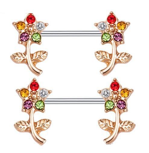 المجوهرات بالجملة الجسم الفولاذ المقاوم للصدأ Doulbe زهرة درع الحلمة خواتم للمرأة بنات