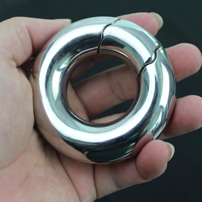 ذكر كيس الصفن قلادة حلقة الفولاذ المقاوم للصدأ الكرة العفة خواتم الخصية الوزن ضبط النفس قفل حلقة لعبة الجنس للرجال B2-2-213 Y19061202