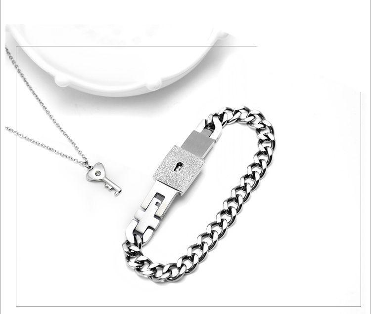 Su el suyo a Juego Collar pendiente de la llave de acero de titanio pareja Sólo tienes mi perfil pulsera brazalete