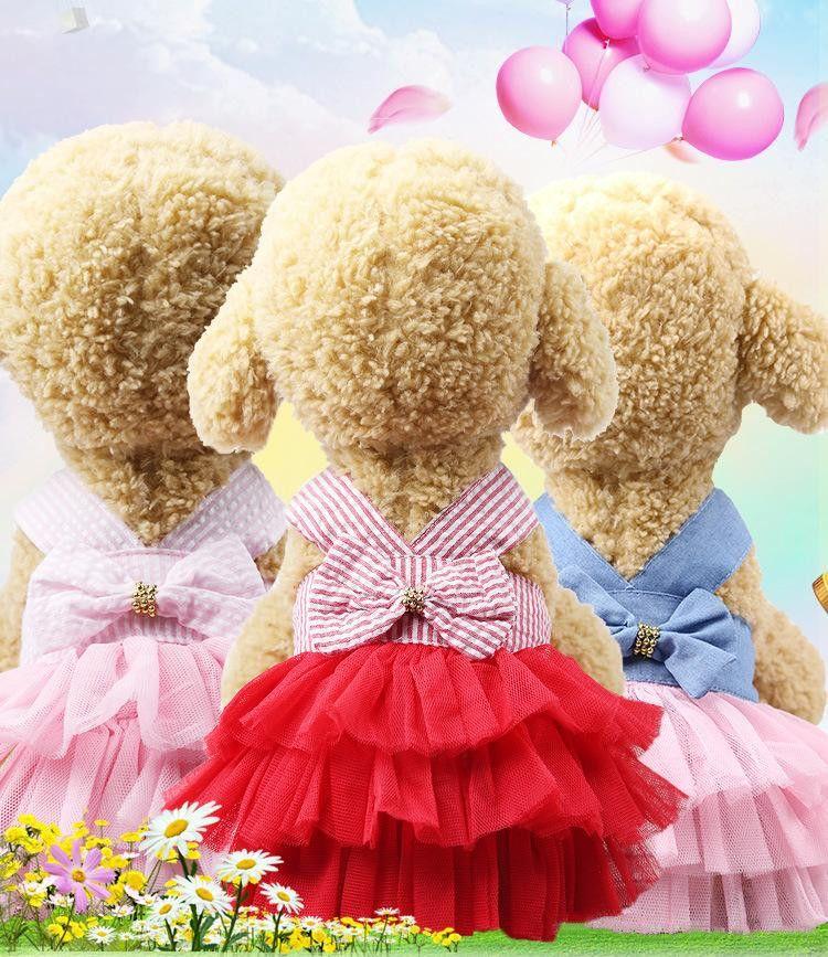 أزياء كلب الملابس اللباس الحلوة الأميرة اللباس الصغيرة المتوسطة الكلاب الحيوانات الأليفة اكسسوارات تيدي جرو فساتين الزفاف XS-XXL DHL