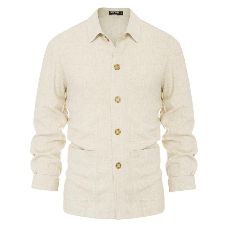 Männer Langarm Loose Fit Hemd Mantel Rayon Leinenhemd Jacke Reverskragen Knopfleiste Shirts Outwear für den Frühling
