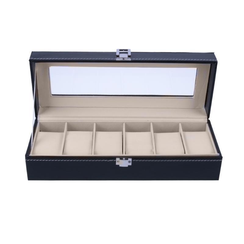 6 emplacements montre-bracelet cas Boîte à bijoux Boîte de rangement avec couvercle à bijoux Vitrine Montres Porte d'affichage Organisateur