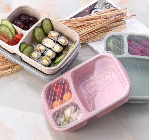 3Grid paglia di grano Lunch Box Microonde Bento Boxes Student naturale portatile alimentari Frutta Storage Box da tavola 4styles GGA2845