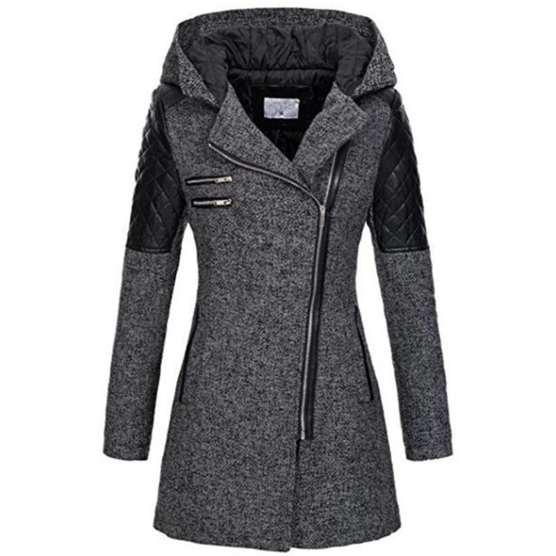 Kinikiss 2018 donne cappotto della chiusura lampo autunno felpe nere rappezzatura del manicotto lungo caldo colore contrasto cappotti invernali giacca giacche