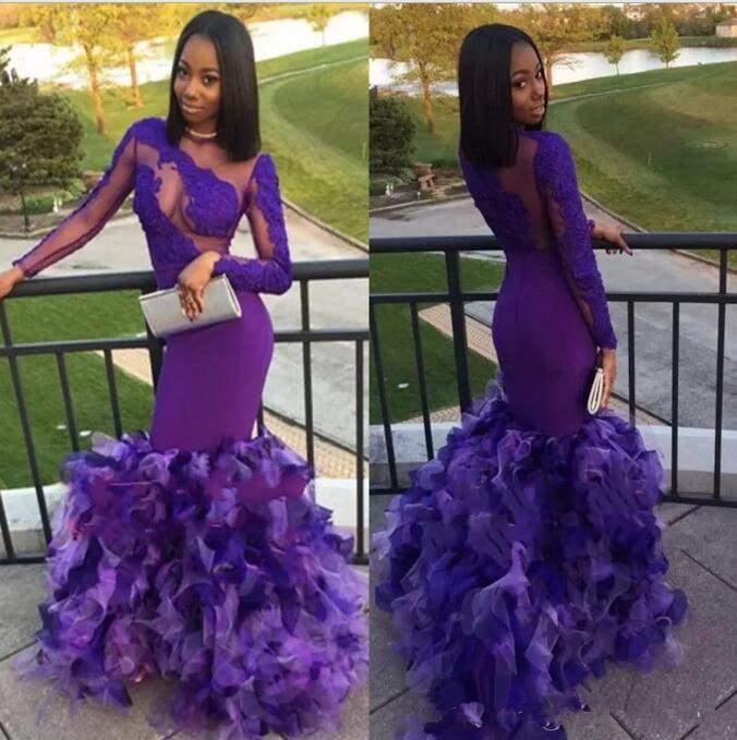 2019 I più nuovi Black Girls Purple Prom Dresses Mermaid Sexy Back Design con increspature Abiti da sera unici Appliques in pizzo Abiti da festa