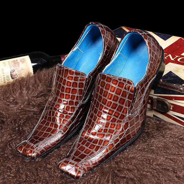 Hommes Place Lacets Jaune Business Dress Chaussure Motif De Crocodile De Mariage Bureau Sapato Masculino Social En Cuir pour Mâle