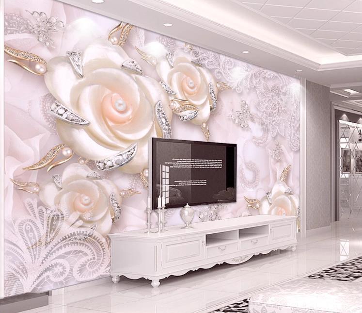 Moderno rosado de la perla tridimensional flor joyería mural del papel pintado 3D para fondo de sala de estar Sofá TV Decoración personalizada del papel pintado