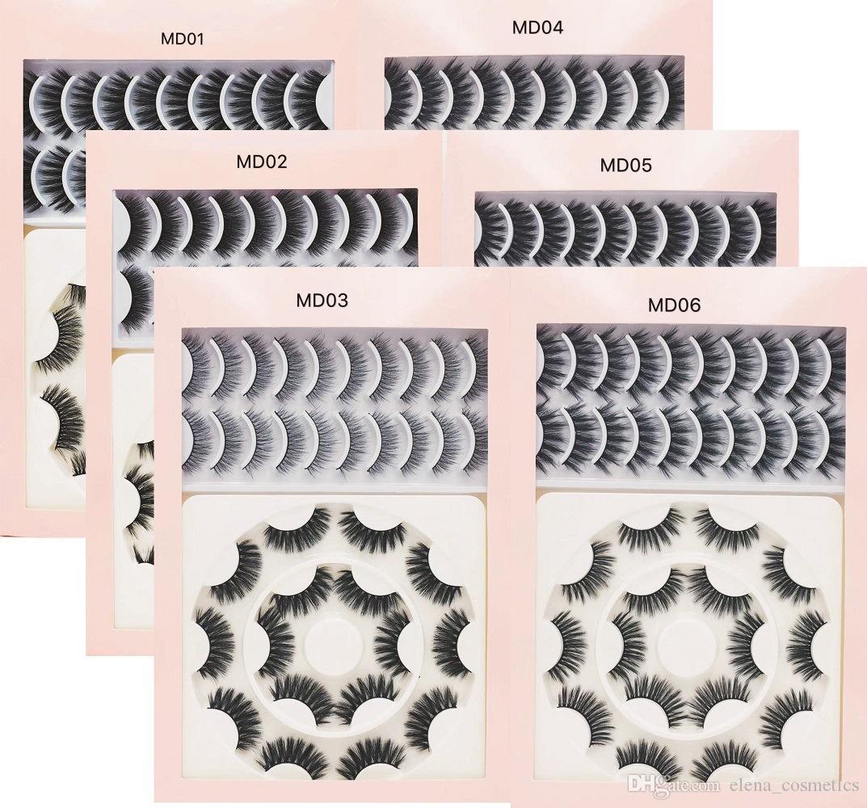 18 أزواج متعددة حزمة ماكياج 3D الطبيعية حجم المنك الرموش الصناعية الضفيرة الصليب الطويلة السميكة المنك جلدة لينة اليدوية العين تمديد MD السلسلة