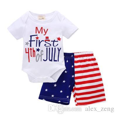 الرابع من يوليو ملابس الطفل الفتيان الفتيات ملابس الاطفال رومبير السراويل مجموعة 2 قطع تتسابق يوم الاستقلال طفل مجموعة ملابس الاطفال