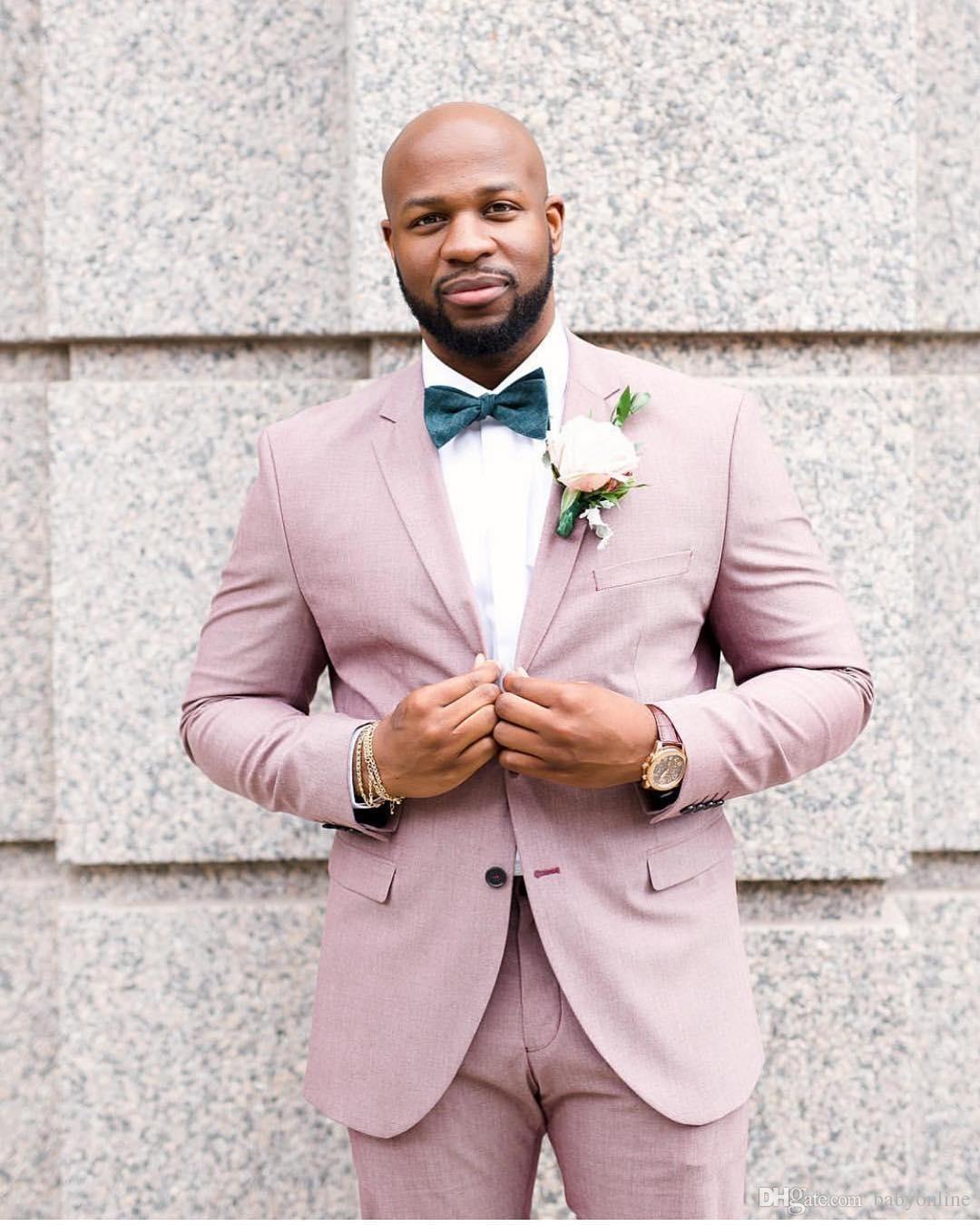 Nouveau Design Tuxedos Groom Rose Groomsmen Notch Lapel Meilleur Costume Homme Mariage Blazer Costumes Sur Mesure (Veste + Pantalon)