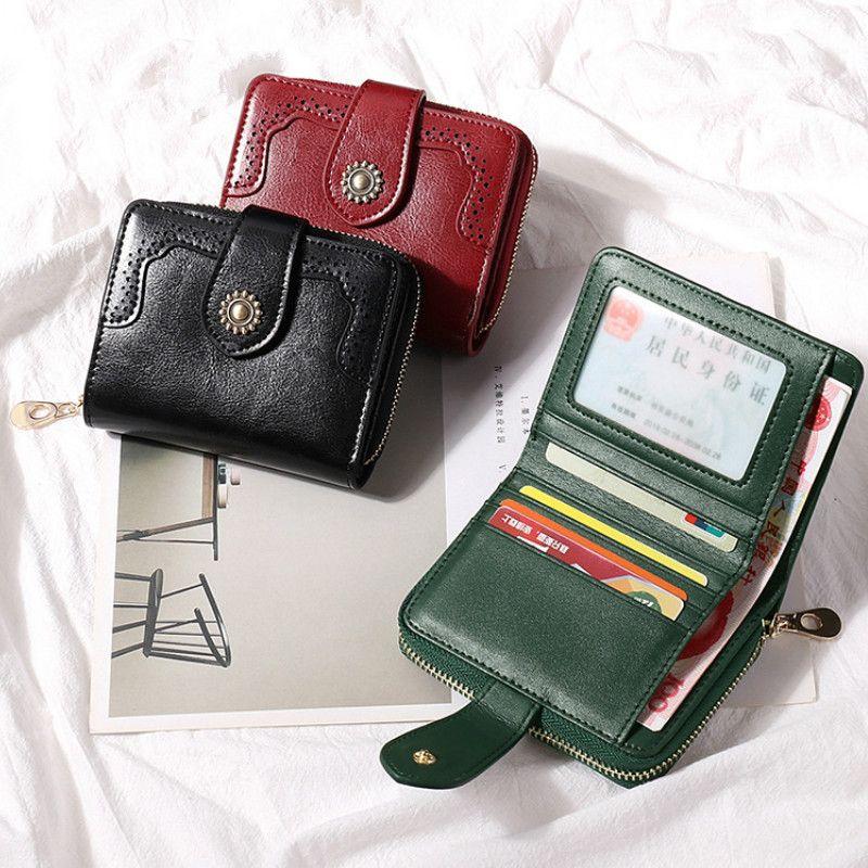 Women Credit Fashion Designer Flower Real Leather Short Zipper Quality Purse Pocket Card Business Wallets Holders Classic High Wallet I Jilo