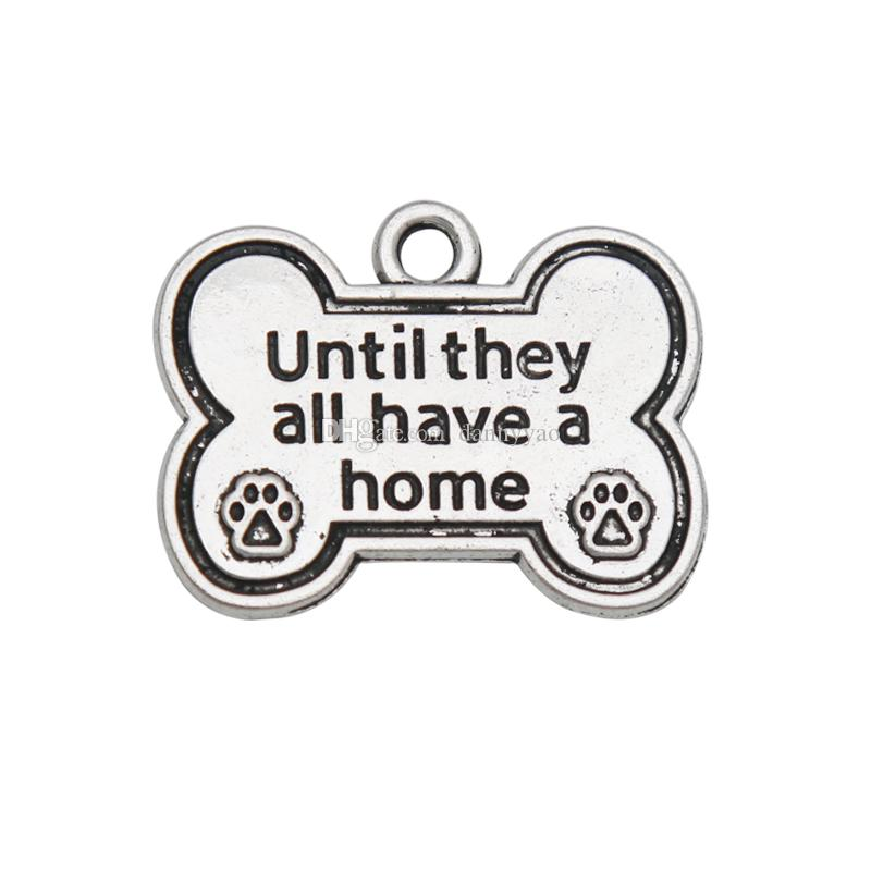 Toptan Alaşım Köpek Kemik Şekli Takılar Hepsine Kadar Bir Ev Köpek Paw Print Charms 20 * 25mm 50 adet AAC974