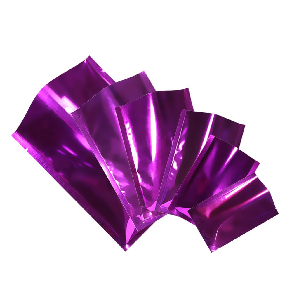 12x18cm brilhante metálico roxo Mylar Foil sacos de embalagem Bag Seal Calor de armazenamento Open Top com 100pcs rasgo Notch