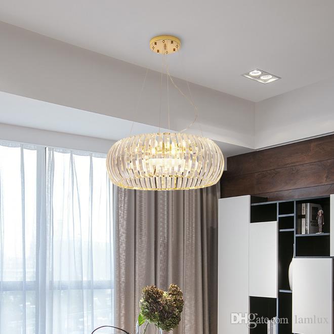 colgante de la nueva llegada americana K9 araña de cristal de lujo de iluminación Lámparas Lámparas de techo redondas luces con bombillas led para dormitorio comedor