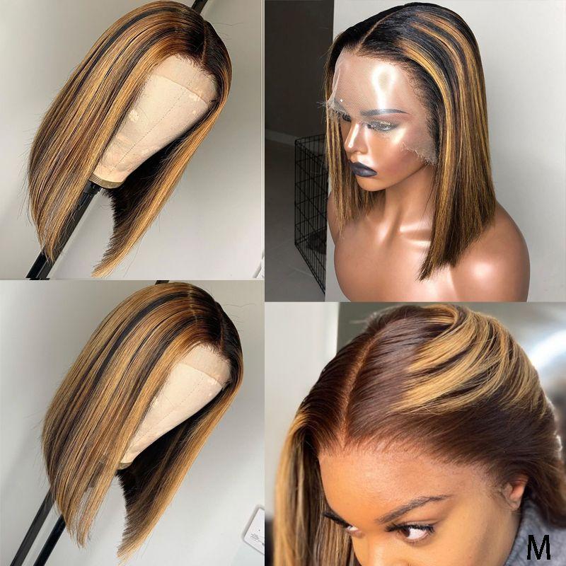 Викка Ombre 13x6 фронта шнурка человеческих волос парики с ребенком прямые волосы Remy бразильский Pre набрался 130 Плотность для женщин